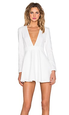 Deep V Long Sleeve Mini Dress in White
