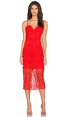 Follow Your Heart Lace Bustier Dress in Red