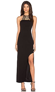 Lumier Total Eclipse Splice Maxi Dress in Black
