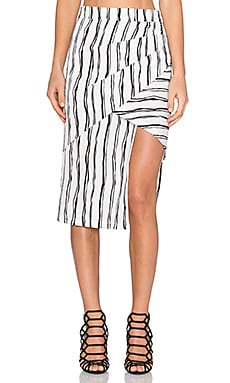 Lumier Moonshine Magic Stripe Wrap Skirt in White