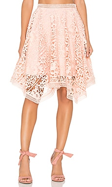 Lumier Squire Hem Lace Skirt in Nude