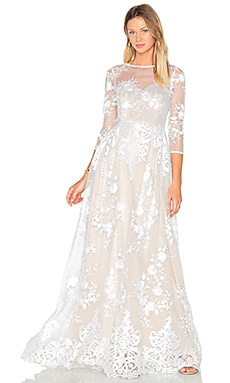 Lurelly Sheer Embroidered Gown in White