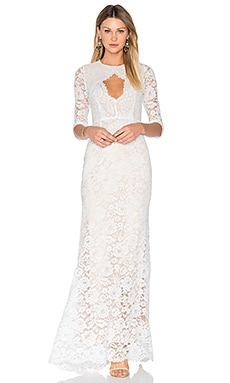 Floral Lace Gown in White
