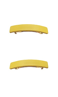 Genuine Leather Rectangle Barrette L. Erickson USA $16