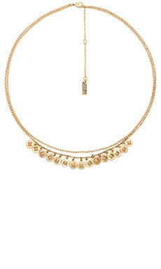 Luv AJ The Punk Stud Disc Chain Charm Necklace in Antique Gold