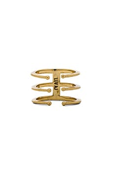 Luv AJ The Triple Spear Ring in Antique Gold