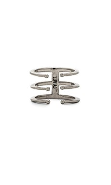Luv AJ The Triple Spear Ring in Silver Ox