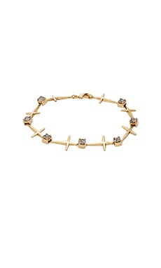 Luv AJ The Cross Tennis Bracelet in Antique Gold