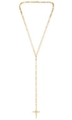 Luv AJ The Cross Rosary Necklace in Antique Gold