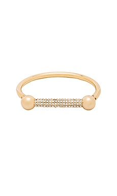 Luv AJ The Pave Barbell Cuff in 14K Gold