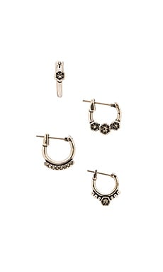 Luv AJ The Full Bloom Hoop Earring Set in Silver Ox