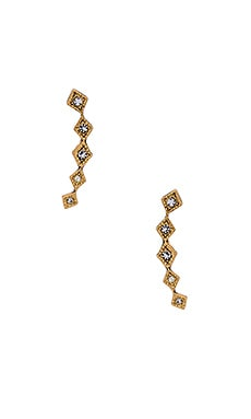 The Diamond Kite Crawler Earring in Antique Gold
