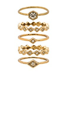 Luv AJ The Full Bloom Ring Set in Antique Gold