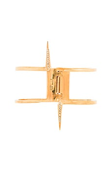 Luv AJ Double Pave Spike Cuff in Antique Gold