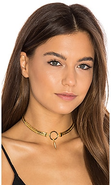 Luv AJ Hanging Spike Choker in Antique Gold