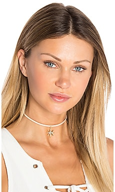 Luv AJ Leather Wrap Charm Choker in Antique Gold