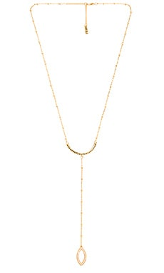 Luv AJ Crescent Marquise Lariat in Antique Gold