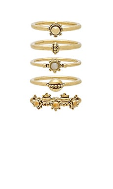 The Baroque Stack Ring Set in Antique Gold