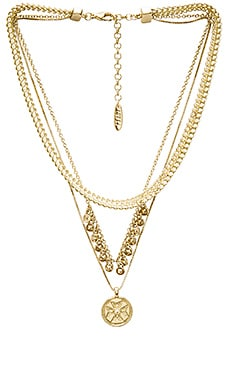 x SABO LUXE Noa Coin Charm Necklace en Vieil Or