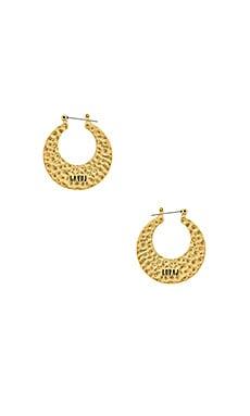 Купить Серьги-кольца hammered sheet hoops - Luv AJ, Золотой, Китай, Металлический золотой