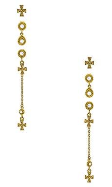 Купить Набор серьг moroccan dangle cross studs - Luv AJ, Золотой, Китай, Металлический золотой