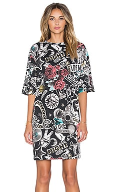 Love Moschino Lifestyles of the Rich & Famous T-Shirt Dress in Black Multi