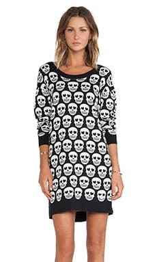 Love Moschino Printed Skull Sweater Dress in Black & White