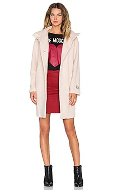 Love Moschino Textured Coat in Blush
