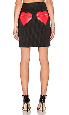 Love Moschino Heart Pocket Pencil Skirt in Black