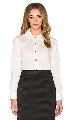 Love Moschino Heart Button Top in White