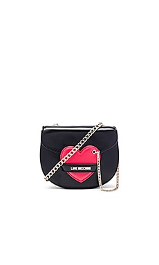 Love Moschino Heart Chain Crossbody in Black & Red