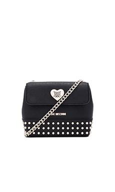 Love Moschino Heart & Studs Crossbody in Black