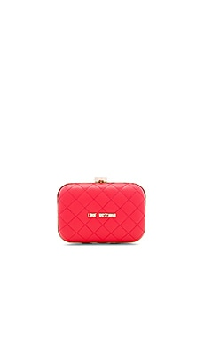Quilted Box Clutch on a Chain en Rouge