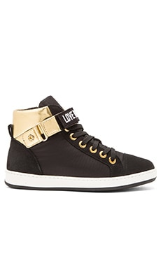 Love Moschino Hi-Top Sneaker in Black & Gold