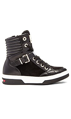 Love Moschino High Top Sneaker in Black & White