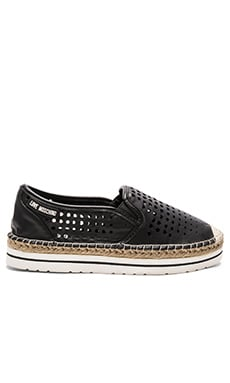 Love Moschino Cut Out Flat in Black