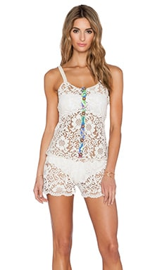 Maaji Button Up Lace Romper in Multicolor