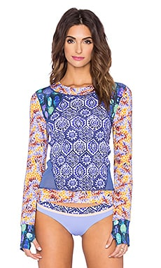 Maaji Warm Orchid Trail Rashguard in Purple & Gold Multi