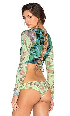 Maaji Contrast Blast Bikini Top in Lime & Green Multi
