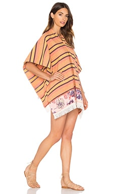 Beach Blanket Poncho in Orange Stripe