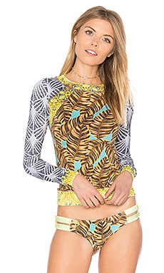Flamingo Inn Rashguard in Yellow Multi