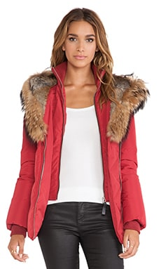 Mackage Akiva Jacket with Asiatic Raccoon and Rabbit Fur Trim in Cherry