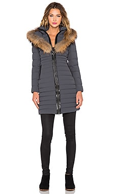Mackage Kaylina Jacket with Asiatic Raccoon Fur Trim in Charcoal