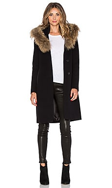 Mackage Andie Coat with Asiatic Raccoon Fur in Black