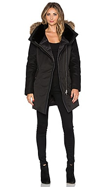 Mackage Arita Jacket with Asiatic Raccoon Fur and Sheepskin in Black