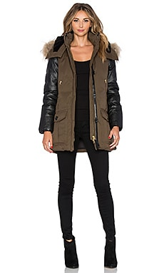 Mackage Cynthia Jacket with Asiatic Raccoon Fur and Sheepskin in Army