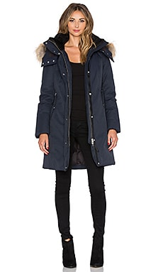 Mackage Kerry Jacket with Asiatic Raccoon Fur and Sheepskin in Navy