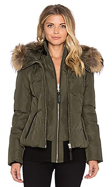 Mackage Romane Jacket with Asiatic Raccoon Fur in Army