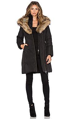 Trish Jacket with Asiatic Raccoon Fur in Black