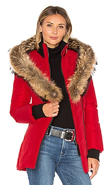 Adali Coat with Asiatic Raccoon Fur Trim in Red
